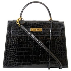 Hermes Kelly 32 Black Crocodile GHW + Strap