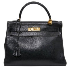 HERMES Kelly 32 Black Grained Leather Bag