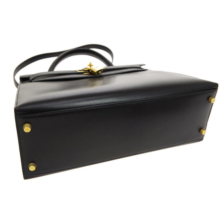 Hermes Kelly 32 Black Leather Gold Top Handle Satchel Shoulder Bag In Good Condition In Chicago, IL