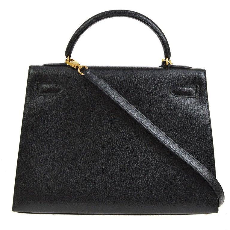 Women's Hermes Kelly 32 Black Leather Gold Top Handle Satchel Shoulder Bag in Box