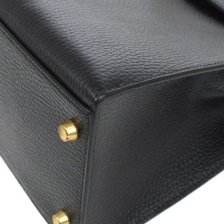 Hermes Kelly 32 Black Leather Gold Top Handle Satchel Shoulder Bag in Box 2