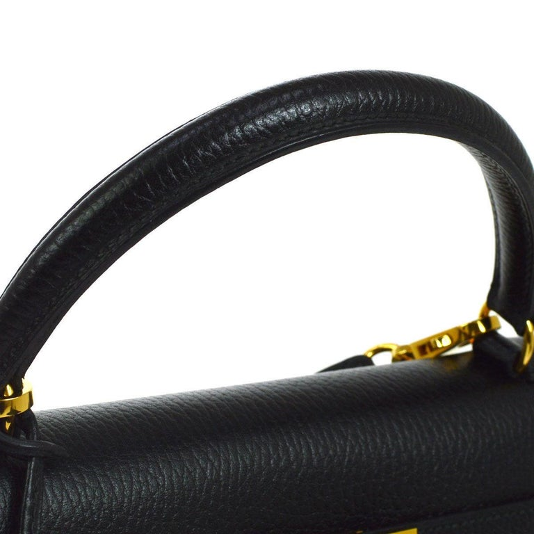 Hermes Kelly 32 Black Leather Gold Top Handle Satchel Shoulder Bag in Box In Good Condition In Chicago, IL