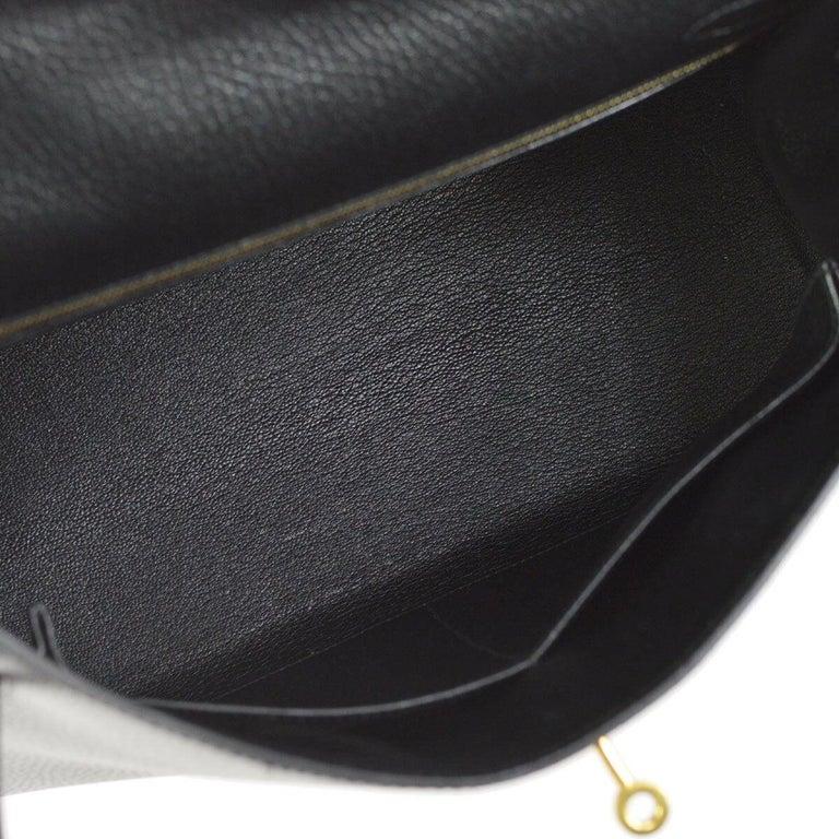 Hermes Kelly 32 Black Leather Gold Top Handle Satchel Shoulder Bag in Box 3