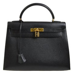 Hermes Kelly 32 Black Leather Gold Top Handle Satchel Shoulder Bag in Box
