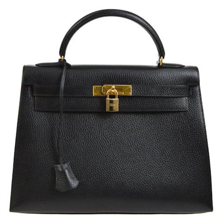 Hermes Kelly 32 Black Leather Gold Top Handle Satchel Shoulder Bag in Box