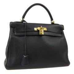 Hermes Kelly 32 Black Leather Gold Top Handle Satchel Shoulder Tote Bag