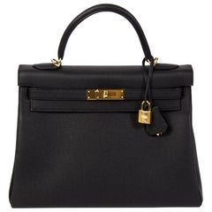 Hermès Kelly 32 Black Togo GHW