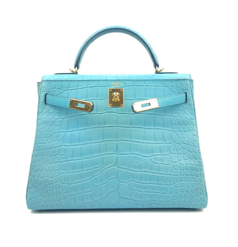 Hermes Kelly 32 Blue Atoll Matte Alligator Mississippien Croc In Excellent Condition For Sale In Lancaster, CA