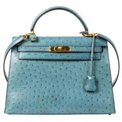 Hermès Kelly 32 Blue Jean Ostrich GHW