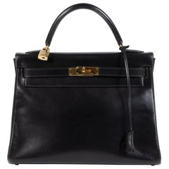Hermès Kelly 32 Boxcalf Black Bag