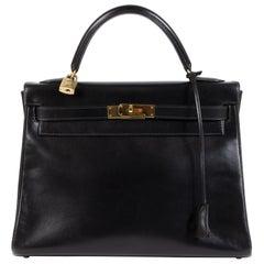 Hermès Kelly 32 Boxcalf Black Bag