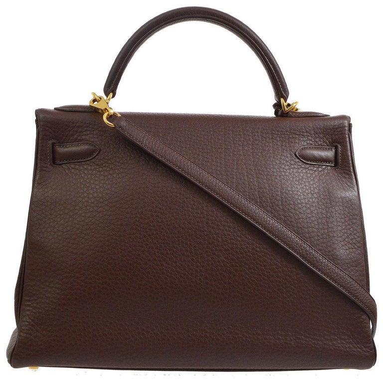 Black Hermes Kelly 32 Brown Leather Gold Top Handle Satchel Shoulder Bag