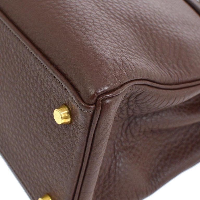 Women's Hermes Kelly 32 Brown Leather Gold Top Handle Satchel Shoulder Bag
