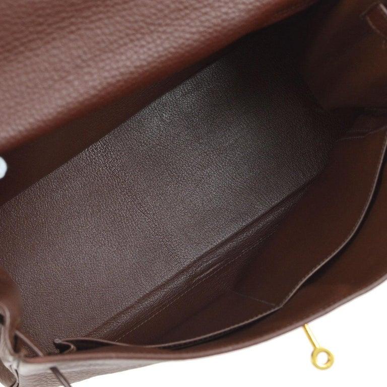 Hermes Kelly 32 Brown Leather Gold Top Handle Satchel Shoulder Bag 1