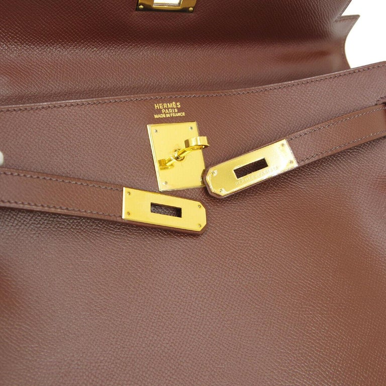 Hermes Kelly 32 Brown Leather Gold Top Handle Satchel Evening Shoulder Tote Bag  Leather Gold tone hardware Leather lining Date code present Made in France Handle drop 3.5