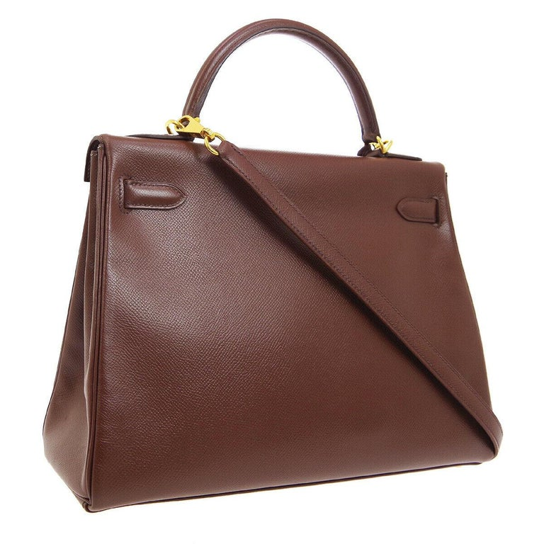 Hermes Kelly 32 Brown Leather Gold Top Handle Satchel Shoulder Tote Bag  In Good Condition In Chicago, IL