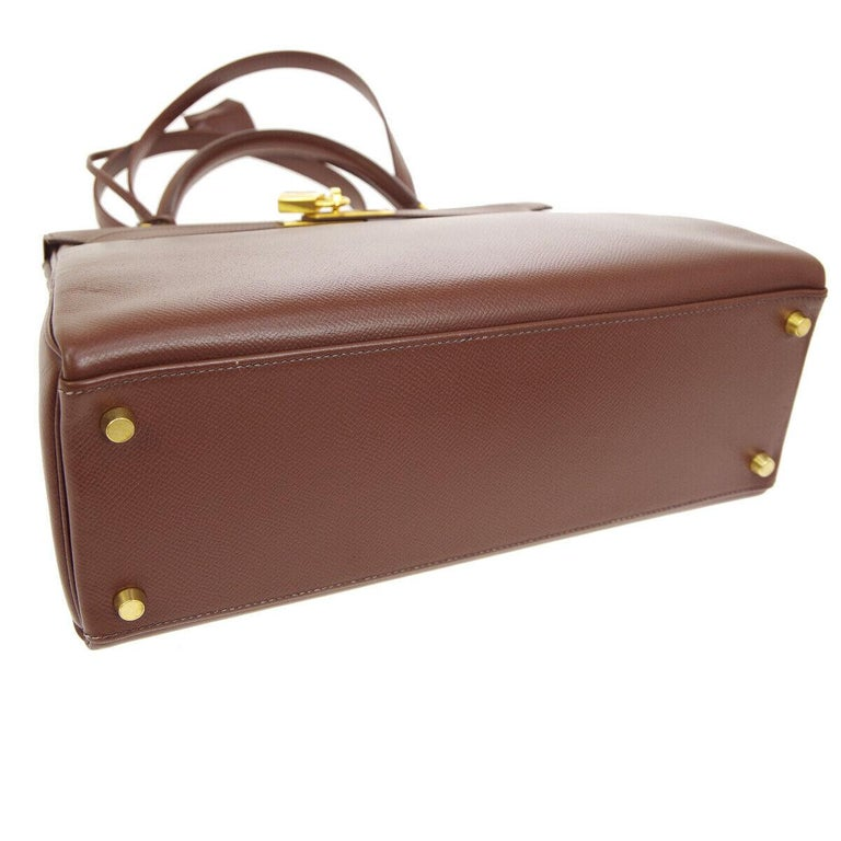 Women's Hermes Kelly 32 Brown Leather Gold Top Handle Satchel Shoulder Tote Bag
