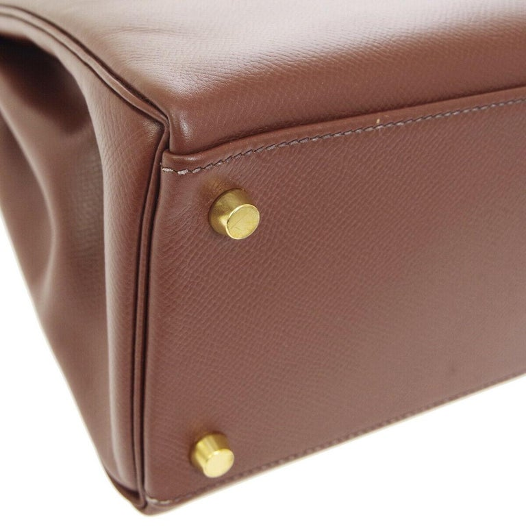 Hermes Kelly 32 Brown Leather Gold Top Handle Satchel Shoulder Tote Bag  1