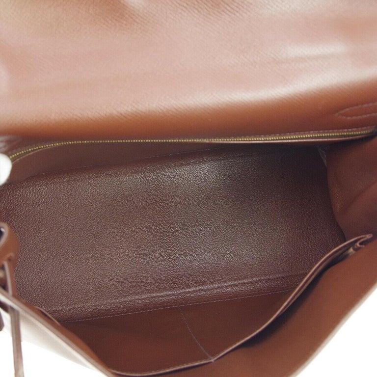 Hermes Kelly 32 Brown Leather Gold Top Handle Satchel Shoulder Tote Bag  2
