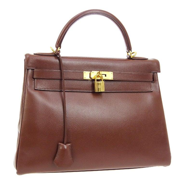 Hermes Kelly 32 Brown Leather Gold Top Handle Satchel Shoulder Tote Bag
