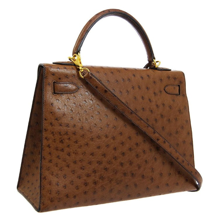 Hermes Kelly 32 Brown Ostrich Exotic Gold Top Handle Satchel Shoulder Tote Bag In Good Condition For Sale In Chicago, IL