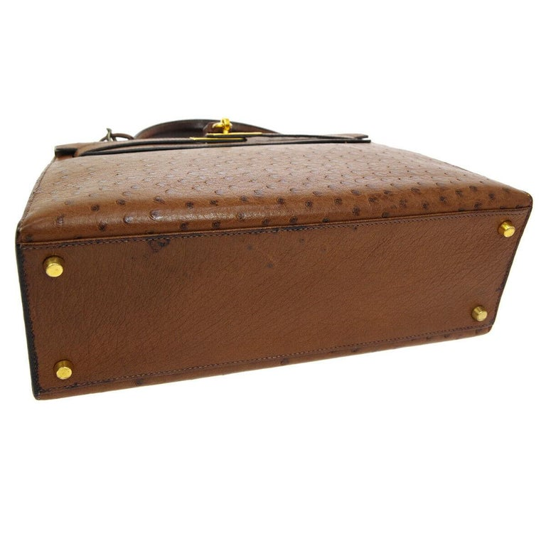 Women's Hermes Kelly 32 Brown Ostrich Exotic Gold Top Handle Satchel Shoulder Tote Bag For Sale