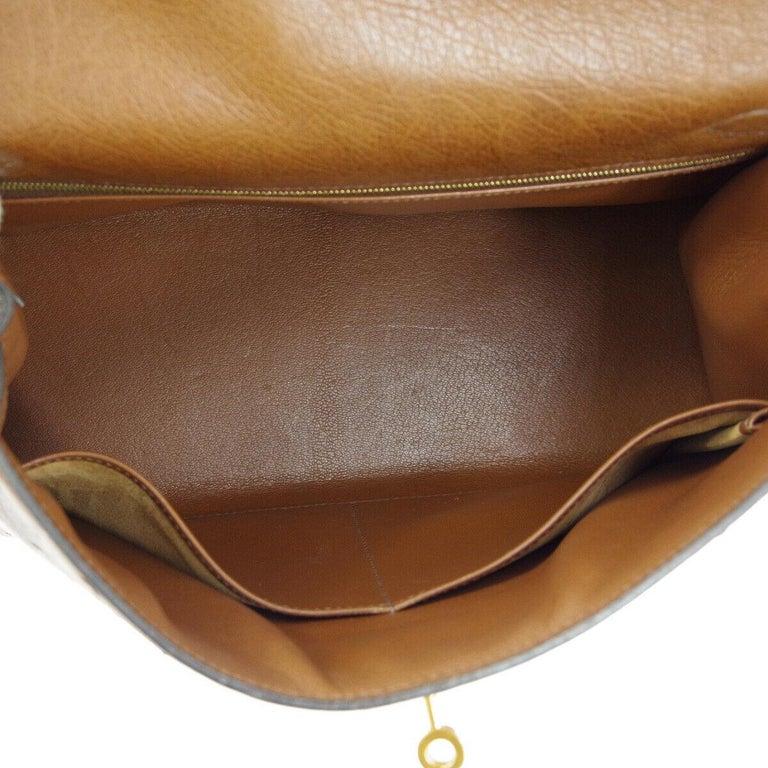 Hermes Kelly 32 Brown Ostrich Exotic Gold Top Handle Satchel Shoulder Tote Bag For Sale 1