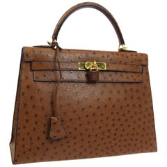 Hermes Kelly 32 Brown Ostrich Exotic Gold Top Handle Satchel Shoulder Tote Bag