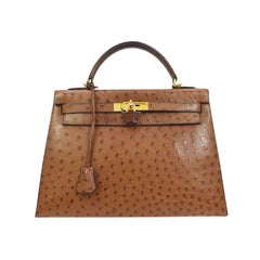 Hermes Kelly 32 Brown Ostrich Exotic Gold Top Handle Satchel Shoulder Tote Bag