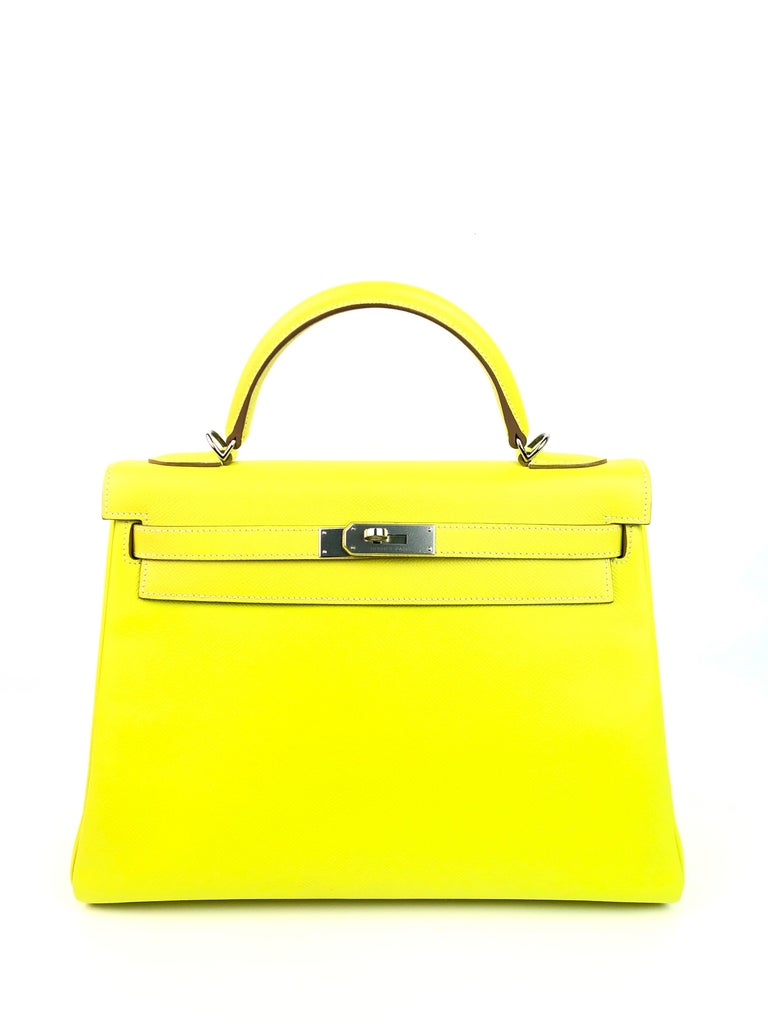 Hermes Kelly 32 Candy Collection Lime Yellow Green Gris Interior Palladium Hardware Epsom Leather . Excellent Condition, replacement Plastic on Hardware, Excellent corners and structure.  Shop with Confidence from Lux Addicts. Authenticity