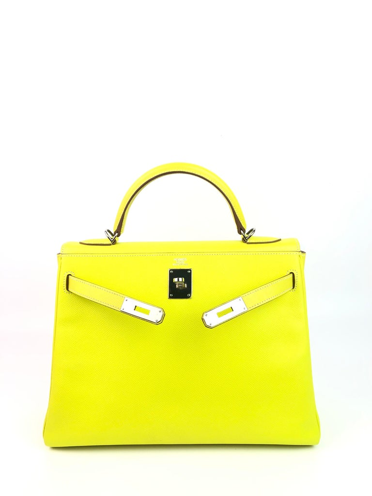Hermes Kelly 32 Candy Collection Lime Yellow Green Gris Palladium Hardware In Excellent Condition For Sale In Miami, FL