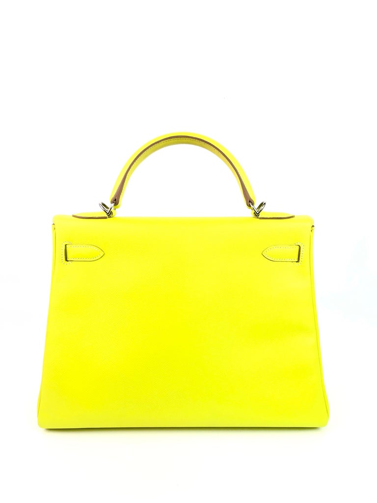 Women's or Men's Hermes Kelly 32 Candy Collection Lime Yellow Green Gris Palladium Hardware For Sale