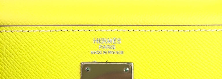 Hermes Kelly 32 Candy Collection Lime Yellow Green Gris Palladium Hardware For Sale 1