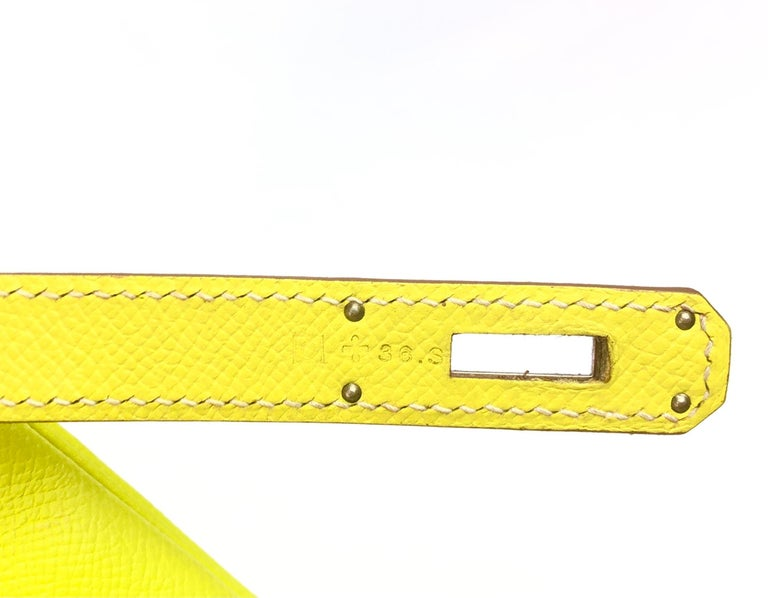 Hermes Kelly 32 Candy Collection Lime Yellow Green Gris Palladium Hardware For Sale 4