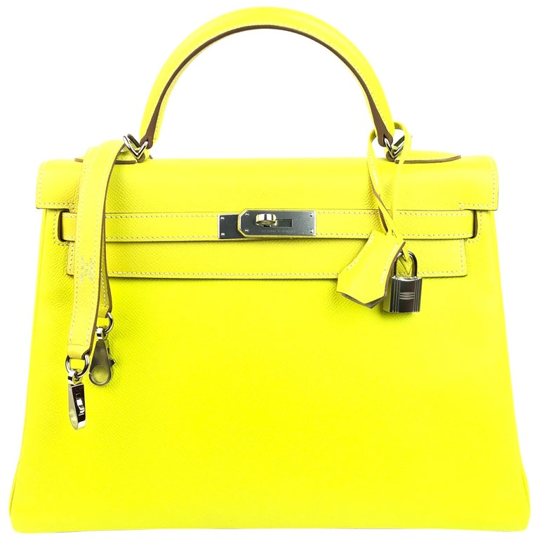 Hermes Kelly 32 Candy Collection Lime Yellow Green Gris Palladium Hardware For Sale
