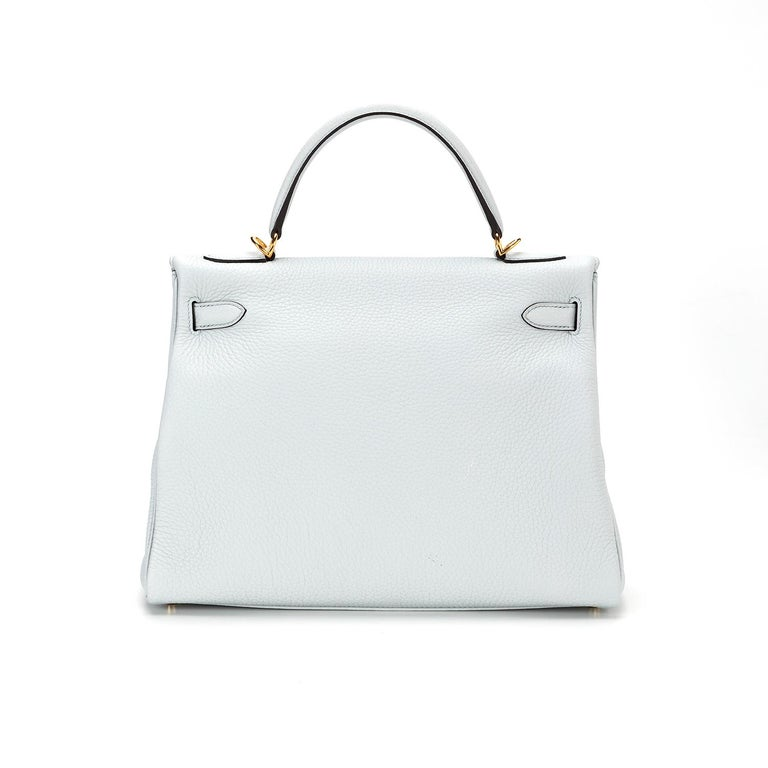 Gray Hermès Kelly 32 Clemence Pale Blue Y 2020  For Sale