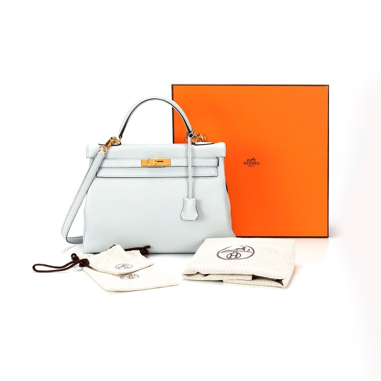 Women's Hermès Kelly 32 Clemence Pale Blue Y 2020  For Sale