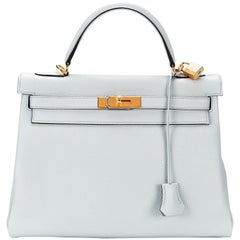 Hermès Kelly 32 Clemence Pale Blue Y 2020
