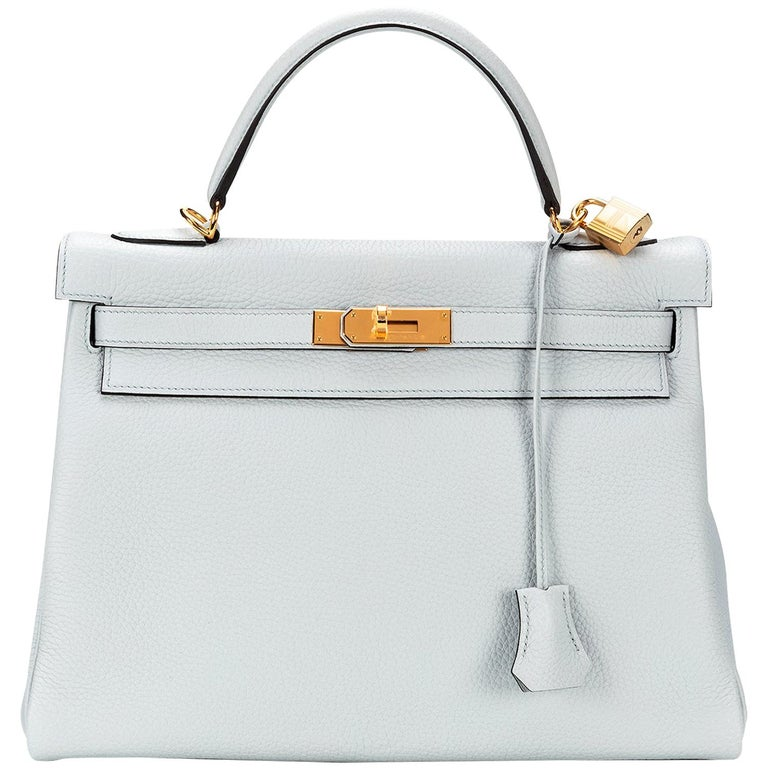 Hermès Kelly 32 Clemence Pale Blue Y 2020  For Sale