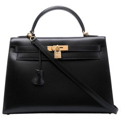 Hermès Kelly Calf Box Black Sellier Bag