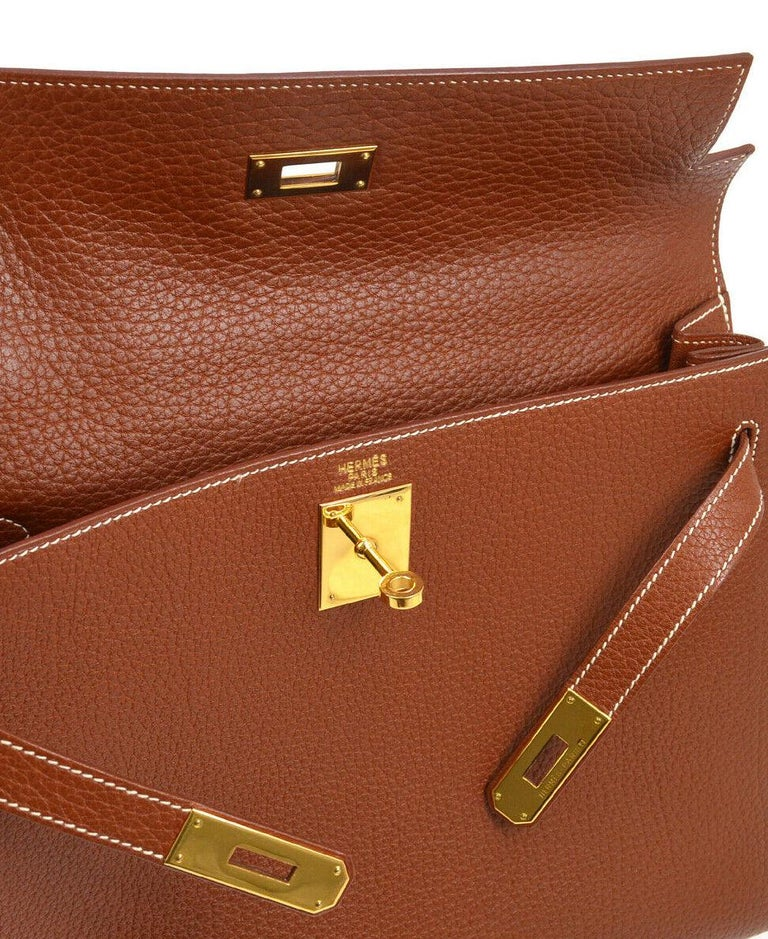 Hermes Kelly 32 Cognac Brown Leather Gold Top Handle Satchel Shoulder Tote Bag  In Good Condition In Chicago, IL