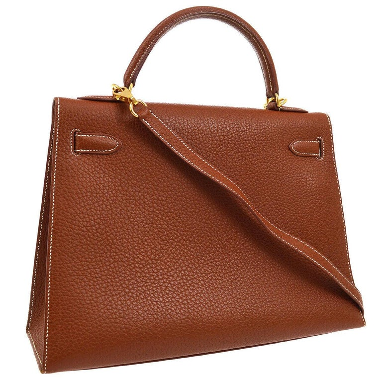 Women's Hermes Kelly 32 Cognac Brown Leather Gold Top Handle Satchel Shoulder Tote Bag