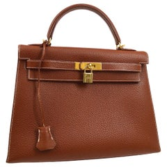 Hermes Kelly 32 Cognac Brown Leather Gold Top Handle Satchel Shoulder Tote Bag