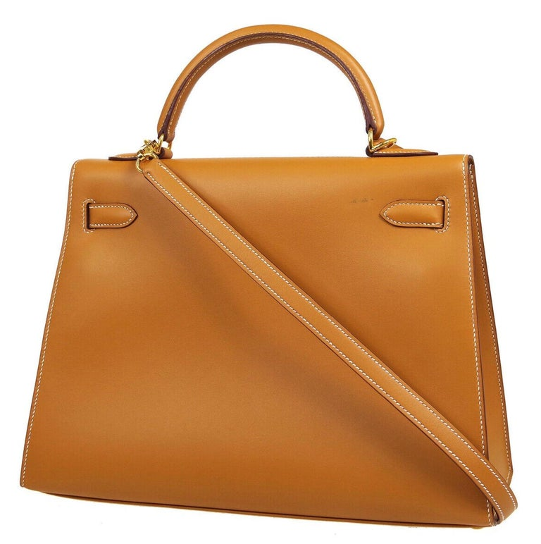 Hermes Kelly 32 Cognac Leather Gold Top Handle Satchel Shoulder Tote Bag  In Good Condition For Sale In Chicago, IL