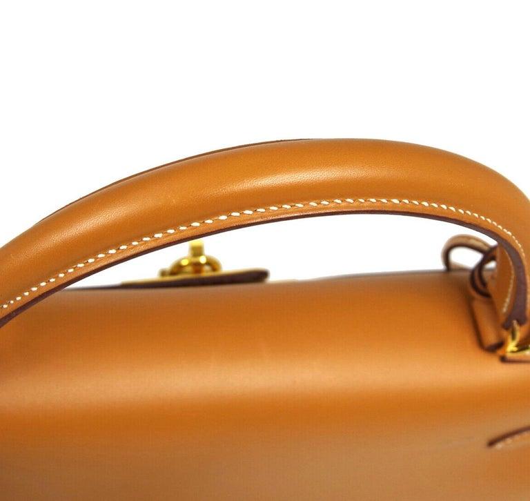 Women's Hermes Kelly 32 Cognac Leather Gold Top Handle Satchel Shoulder Tote Bag  For Sale