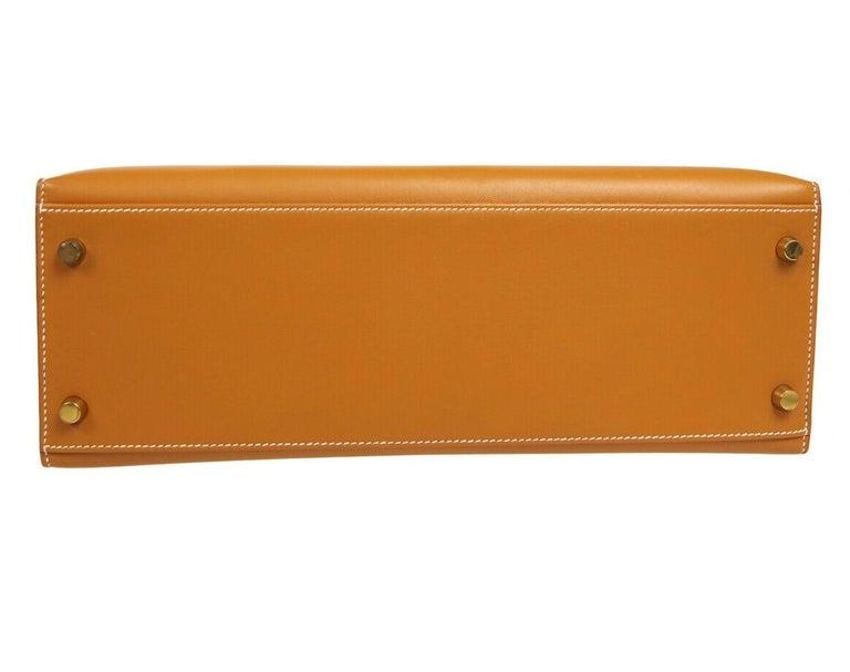 Hermes Kelly 32 Cognac Leather Gold Top Handle Satchel Shoulder Tote Bag  For Sale 1