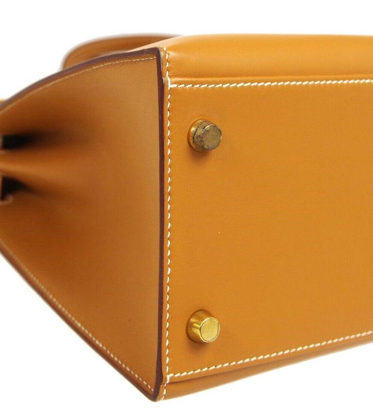 Hermes Kelly 32 Cognac Leather Gold Top Handle Satchel Shoulder Tote Bag  For Sale 2