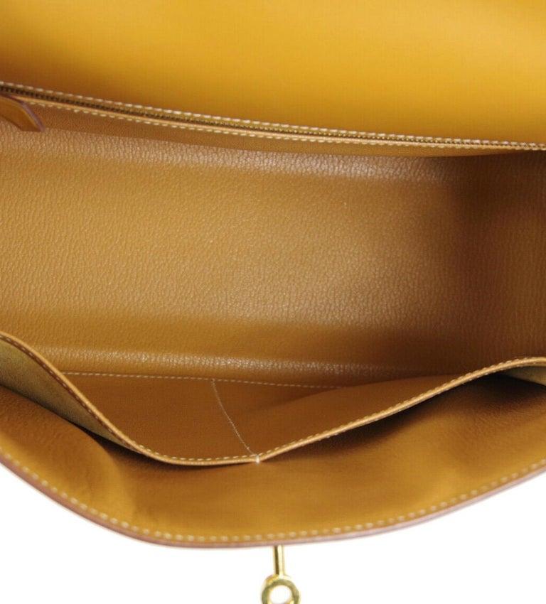 Hermes Kelly 32 Cognac Leather Gold Top Handle Satchel Shoulder Tote Bag  For Sale 3