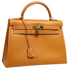 Hermes Kelly 32 Cognac Leather Gold Top Handle Satchel Shoulder Tote Bag