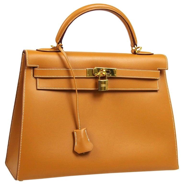 Hermes Kelly 32 Cognac Leather Gold Top Handle Satchel Shoulder Tote Bag  For Sale